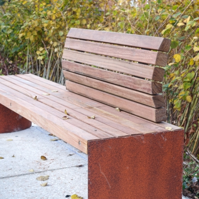 Solitude Bench in Two Tone CorTen coating
